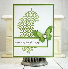 Hi Everyone! It's Mona here with a clean and simple card to share featuring fun dies from the New Mini Release including the Atessa Collage and Stitched Butterfly Trio dies. For the background, I used the Atessa Collage die to cut a piece of white cardstock then layered it on top of a piece of green cardstock: I stamped one of the many sentiments from the Friends and Flowers stamp set then embellished with a layered stitched butterfly that was die cut using a couple different sized Stitched…