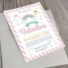 Convite digital chá de bebê arco íris Christening Invitations, Baby Shower, Rainbow, Clouds, Diy, Instagram, Sailor Baby, Diaper Invitations, Digital Invitations