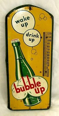 "BIG 21"" Original Vintage BUBBLE UP SODA Tin Metal Advertising THERMOMETER ~ NR!"