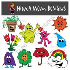 Spring Monsters Clip Art in Color and Black Line from Ninja Mom Designs on TeachersNotebook.com -  (1 page)  - 20 images with transparent background in PNG format. Enjoy Spring with these quirky monsters.