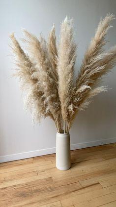Home Decor Wall Art, Living Room Decor, Home Interior Design, Interior Decorating, Grass Decor, Rustic Fall Decor, White Kitchen Decor, Dry Plants, Dried Flowers