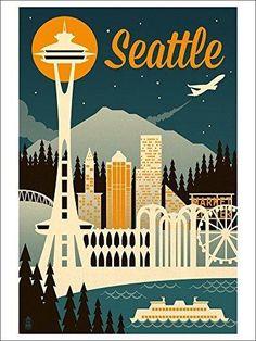 Seattle Washington - Retro Skyline (9x12 Art Print Wall Decor Travel Poster)