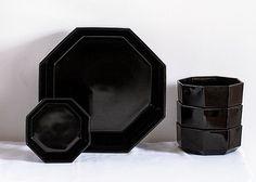 Retro Arcoroc BLACK Octagon French Bowls