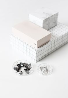 MINTY WARES | The Grid trend takes off. Beautiful crisp packaging in marble textures and minimalist white grids. Stationary boxes. Styling. Desk accessories. Hay boxes | MyDubio