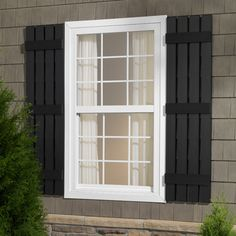 Severe Weather 2-Pack Black Raised Panel Vinyl Exterior Shutters ...