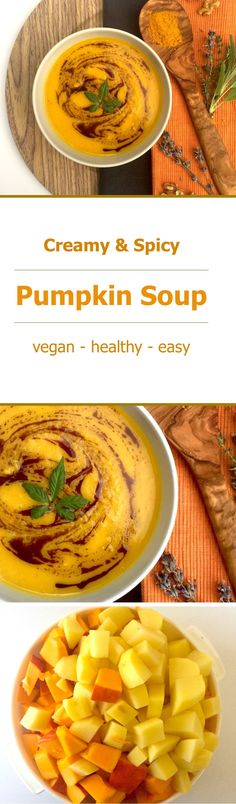 Try this creamy, spicy pumpkin soup for your vegan lunch or dinner! The recipe is healthy and easy to make and this is just the perfect meal for a great start into the pumpkin season!