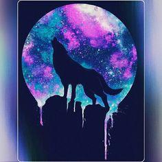 Painted spirit moon Wolf painting Animal drawings Animal art