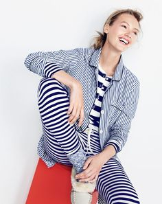 J.Crew women's classic nightshirt in striped vintage end-on-end cotton, stretch cotton sleep set in stripe, marled camp sock and lodge moccasins.