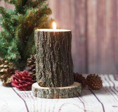Rustic Log Candle Holder, Rustic Decor, Primitive Decor, Rustic Tealight Holder, Rustic Home Decor, Log Slice, Gift for him, Husband Gift