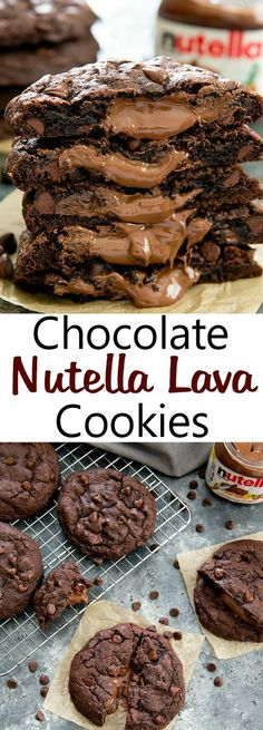 Oversized rich chocolate cookies with a molten Nutella lava center Nutella Lava Cookies. Oversized rich chocolate cookies with a molten Nutella lava center. Chocolate Nutella, Chocolate Cookies, Chocolate Recipes, Chocolate Chips, Nutella Cake, Nutella Cookie Recipe, Best Nutella Recipes, Chocolate Smoothies, Chocolate Shakeology