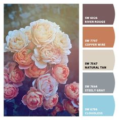 muted plums terra cotta bisques beiges and grey blues sophisticated English roses vintage guest room or branding or invitation scheme Paint colors from #Chipit by #SherwinWilliams Modern Color Palette, Colour Pallete, Colour Schemes, Color Combos, Color Patterns, Color Palettes, Wedding Color Schemes, Wedding Colors, Basement Color Schemes