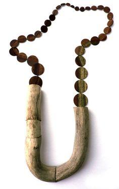 Jenny Klemming Necklace: Curtail I 2010 Drift wood, steel, mahogany veneer, silk ø 97 cm Driftwood Jewelry, Wooden Jewelry, Wire Jewelry, Jewelry Art, Beaded Jewelry, Jewelery, Jewelry Necklaces, Handmade Jewelry, Fashion Jewelry