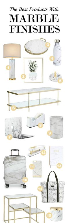 OK, I want everything!!! | Beauty, fashion and lifestyle blogger Mash Elle rounds up the best items with marble finishes including furniture, phone cases, desk accessories, candles, stationary, clothing accessories, suitcases, home decor items and more!