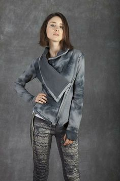 Cecilia de Bucourt Grey Tie Dye Thick Cotton Sweat Shirt with Hand Painted Back