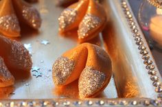 Glitter fortune cookies at a New Year's Eve party!  See more party ideas at CatchMyParty.com!  #partyideas #newyears