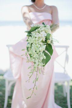 beautiful simple cascade bouquet tropical orchid