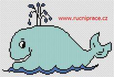 Whale, free cross stitch patterns and charts - www.free-cross-stitch.rucniprace.cz