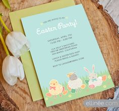 Printable Easter Party Invite Featuring Wooly Friends | Ellinée | handcraft your life