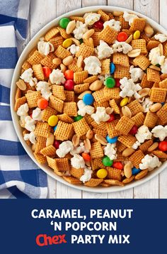Butter and sugar-coated Peanut Butter Chex ™ cereal is the base to this easy sweet and salty party mix. It's simple and quick making it the perfect crowd-pleasing, last minute snack to bring to a party or potluck. Chex Mix Recipes, Dog Food Recipes, Snack Recipes, Dessert Recipes, Fall Recipes, Popcorn, Muffins, Salty Snacks, Party Mix