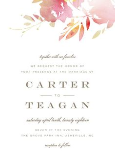 """""""Stately Florals"""" - Floral & Botanical, Modern Wedding Invitations in Poppy by Lori Wemple."""