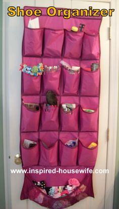 Hair accessories in a shoe organizer by @Amee Berecz This works well for many items in the bathroom also. :)   -For when the girls are older?