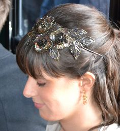 Bridesmaid Headband  Brown Beaded Sequin Fairy Headband Handmade for by JillsBoutique, $34.00