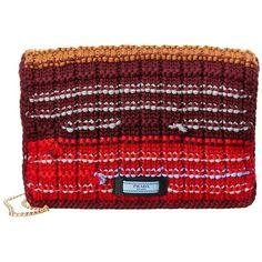 Prada Tricot Knit Wool Clutch (€1.350) ❤ liked on Polyvore featuring bags, handbags, clutches, multi, prada clutches, prada pochette, red purse, red hand bags and prada handbags