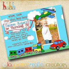 Cars, Planes, and Trains Transportation birthday invitation