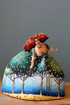 KATYA Fairy tales - TANGERINE ORCHARD 25 cm, papier mache, modelling clay