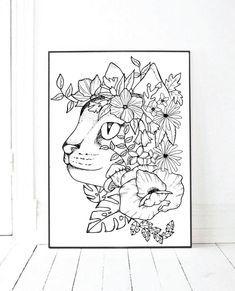 Cat Floral Printable Poster Print Art Print Tattoo Design | Etsy Native American Tattoos, Printable Frames, Floral Printables, Poster Prints, Art Prints, Catio, Handmade Design, Print Tattoos, Picture Frames