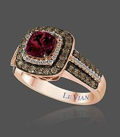 I love, love, LOVE this ring! My absolute favorite. :) Le Vian Rose Gold ring with a ruby stone, white, and chocolate diamonds. Simply gorgeous! :)