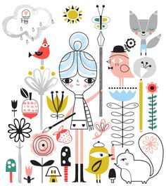 suzyu_DUP_DrawingInTheRain Paris Cat, Pattern Illustration, Illustration Styles, Lilla Rogers, Fun Prints, Pattern Art, Illustrations, Embroidery Patterns, Graphic Art