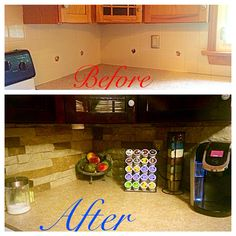 Airstone diy project. A nice upgrade to the boring backsplash.