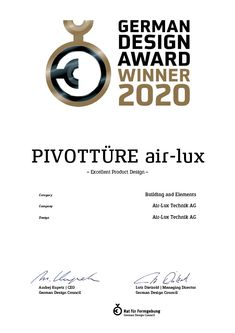 """The air-lux pivot door with central or lateral rotation axis has already won several awards. In the context of the German Design Award 2020, the air-lux pivot door is among the winners in the category """"Excellent Product Design"""". We are very proud and happy.  #pivot #pivotdoor #GIA2020 #airluxwindows #minimalwindows #slidingwindows Pivot Doors, Sliding Windows, Design Awards, Product Design, German, Happy, Concept, Deutsch"""
