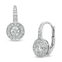 1-3/8 CT. T.W. Diamond Frame Drop Earrings in 14K White Gold (G-H/VS2-SI1)