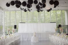 Black and White Reception Decor with a touch of blush pink. LOVE the balloons!