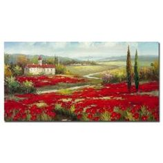 @Overstock - This gallery-wrapped art piece features a landscape composition by artist Rio. This giclee print on canvas is ready to hang.http://www.overstock.com/Home-Garden/Rio-Field-of-Poppies-Canvas-Art/6165394/product.html?CID=214117 $115.99