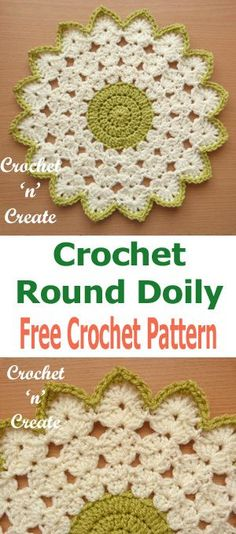 Crochet round doily, free crochet pattern, click for more, #crochetncreate, #crochetdoily