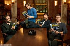 Supernatural: Mark Sheppard, Jared Padalecki, Misha Collins and Jensen Ackles (photo via Entertainment Weekly) The Supernatural, Castiel, Crowley, Supernatural Fanfiction, Supernatural Wallpaper, Supernatural Seasons, Sam Winchester, Winchester Brothers, Jensen Ackles