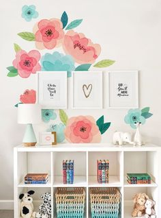 Kids Watercolor Flower Wall Sticker, Coral and Mint Blooms Wall Stickers - Peel and Stick Wall Stickers Kids Room Decor Kids Room Wall Stickers, Flower Wall Stickers, Girls Bedroom, Bedroom Decor, Lego Bedroom, Childs Bedroom, Kid Bedrooms, Nursery Decor, Kids Watercolor