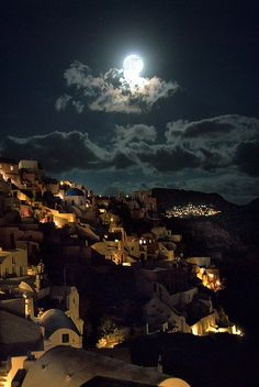 Oia Under Moonlight, Santorini, Greece