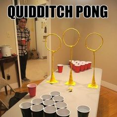 Quidditch pong, drinking games, beer pong, harry potter - Imgur @Erica Cuellar