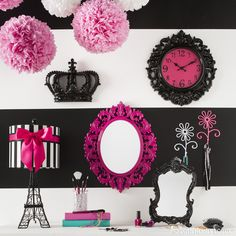 "Say ""bonjour"" to fabulous style and designs with pink and black Parisian decor."