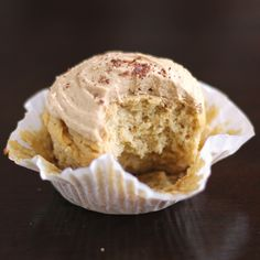 Guilt-Free Vanilla Cupcakes with Toffee Frosting (with a secret ingredient) - moist and sweet without the butter and sugar!