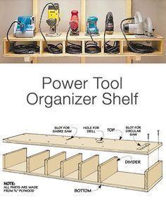 "Garage Storage on a Budget • Ideas and tutorials, including ""how to make an organizer tool shelf"" by 'Woodworking Tips'... #woodworkingtools #woodworkingtips"