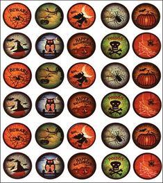 "vintage Halloween Bottle Caps | Vintage Collection Bottle Cap Images 1"" 65/Pkg-Halloween Craze ..."
