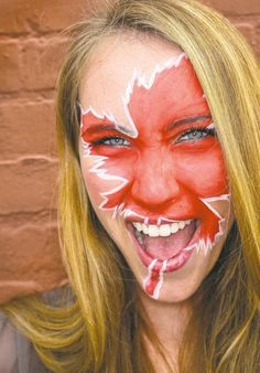 Model Issy Dahl, with face painting by Daena Groleau, makeup artist and owner of Fine Eyes Makeup Artists. Canada Day Crafts, Canada Day Party, Christmas Face Painting, Flag Face, Family Fun Night, Wedding Tattoos, Fitness Tattoos, Day Makeup, Fantasy Makeup