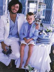 Grooms attire, but in Turquoise or pale aqua shirt with white suit!