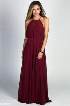 Sleeveless Blouson Bodice A-Line Burgundy Chiffon Maxi Gown