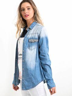 Lunender Camisa Jeans Jeans Claro